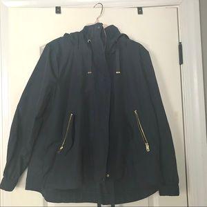 Navy blue Zara rain jacket